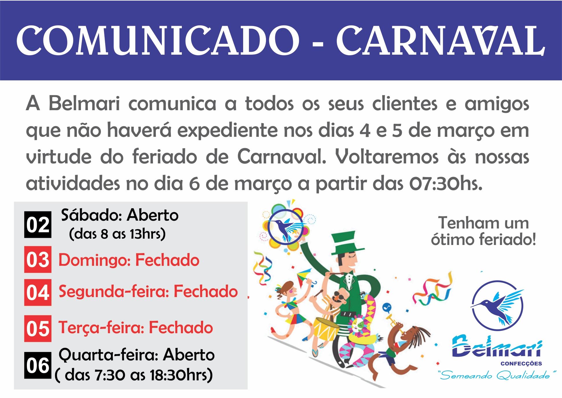 Comunicado – Carnaval 2019